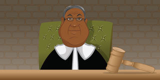 Judge courtroom. Cartoon illustration of a black judge in a  courtroom Royalty Free Stock Image