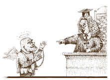 Judge and defendant (vector). Engraving imitation. Sketch from court Royalty Free Stock Photo
