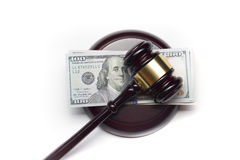 Judge gavel and american dollars on white background royalty free stock image