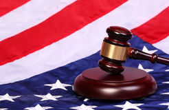 Judge Gavel and American Flag Royalty Free Stock Photos