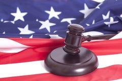 Judge gavel on american flag stock photography