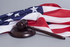 Judge gavel with American flag Stock Photos