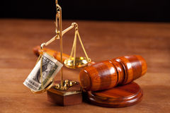 Judge gavel and balance Stock Image