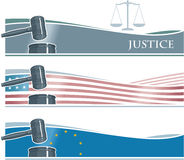 Judge Gavel Banner Background. Fith Flags Stock Photography