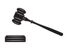 Judge gavel. Black silhouette on white background Royalty Free Stock Photo