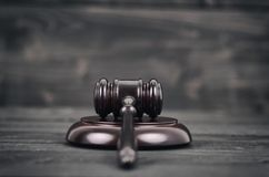 Judge Gavel on a black wooden background. Stock Photo