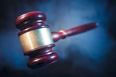 Judge gavel on blue background Stock Images