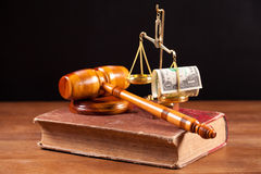 Judge gavel book and balance Stock Image