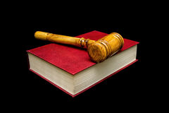 Judge gavel and book on a black background. Stock Photo