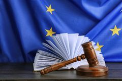 Judge gavel and book on European Union Royalty Free Stock Photography