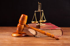 Judge gavel bookand balance Stock Photo