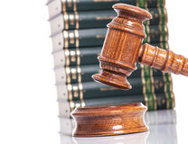 Judge gavel with books in the background Royalty Free Stock Photography