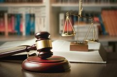 Judge gavel in court. Library with lot of books in background Stock Photography