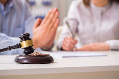 The judge gavel deciding on marriage divorce Stock Images