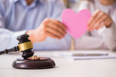 The judge gavel deciding on marriage divorce Stock Photography