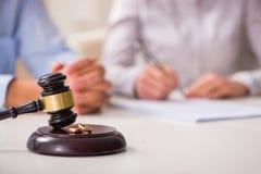 The judge gavel deciding on marriage divorce Stock Photos