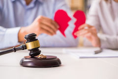 The judge gavel deciding on marriage divorce Royalty Free Stock Photo