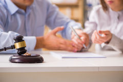 The judge gavel deciding on marriage divorce stock image