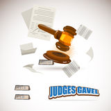Judge gavel with document paper. bidding concept -  Stock Image