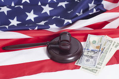 Judge gavel, Dollar banknotes,American flag Stock Image