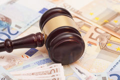 Judge gavel and euro banknotes Stock Photography