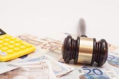 Judge gavel, euro banknotes and calculator Royalty Free Stock Photography