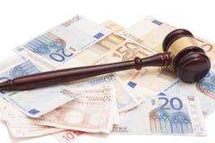 Judge gavel, euro banknotes and calculator Royalty Free Stock Image