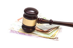 Judge gavel and euro banknotes isolated Royalty Free Stock Image