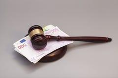 Judge gavel and euro banknotes Royalty Free Stock Photos