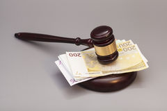 Judge gavel and euro banknotes Stock Images