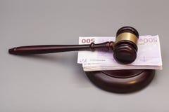 Judge gavel and euro banknotes Royalty Free Stock Image