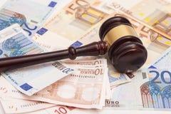 Judge gavel and euro banknotes Royalty Free Stock Photo