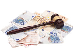 Judge gavel and euro banknotes. Isolated on white Stock Photos