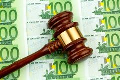 Judge gavel and euro banknotes Stock Image
