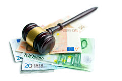 Judge gavel with euro bills Royalty Free Stock Photography