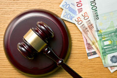 Judge gavel and euro currency Royalty Free Stock Photos