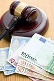Judge gavel and euro currency Stock Photography