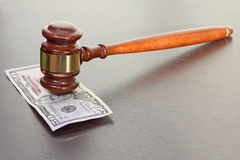 Judge gavel and fifty dollars. Royalty Free Stock Photos