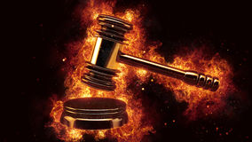 Judge gavel fire flames explosion burning explode. Hot Stock Photography