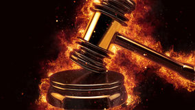 Judge gavel fire flames explosion burning explode Stock Image