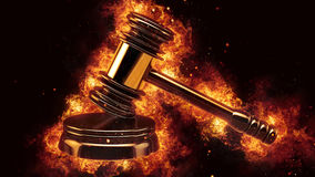 Judge gavel fire flames explosion burning explode. Hot Stock Photo
