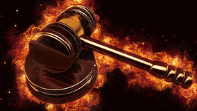 Judge gavel fire flames explosion burning explode Stock Photos