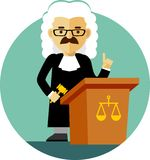 Judge with gavel in flat style. Judge concept in a wig and gown with a gavel Royalty Free Stock Photos