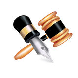 Judge gavel and fountain pen isolated on white Royalty Free Stock Photos