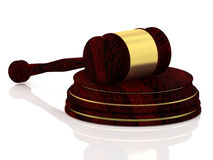 Judge gavel with golden decorations - wooden gavel - law concept Royalty Free Stock Photos