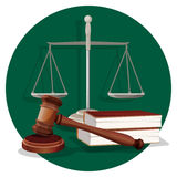 Judge gavel and grey scale with two book on green. Judge wooden gavel, grey scale and two books on round green label on white. Traditional elements in flat style Royalty Free Stock Photography
