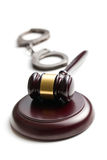 Judge gavel with handcuffs Stock Image