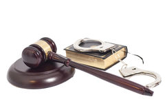 Judge gavel,Handcuffs and book on law Stock Photography