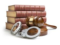 Judge gavel and handcuffs with legal book isolated on white back. Ground. Law and justice concept. 3d illustration Stock Image