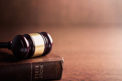 Judge gavel and holy bible. The judge gavel and holy bible Royalty Free Stock Photo